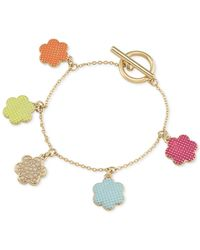 Carolee | Metallic Gold-tone Multicolor Faux Pearl Floral Charm Bracelet | Lyst