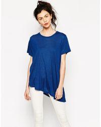 Monki | Blue Asymetric Hem T- Shirt | Lyst
