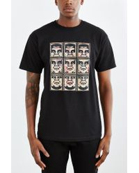 Obey - Black Nine Faces Tee for Men - Lyst