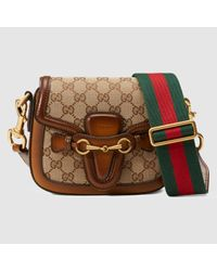 970a39e696d Lyst - Gucci Lady Web Original Gg Canvas Shoulder Bag in Brown