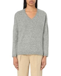 Closed | Gray V-neck Alpaca-blend Jumper | Lyst