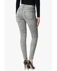 7 For All Mankind Gray Mid Rise Ankle Skinny In Mineraled Smoke Grey