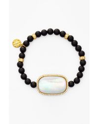 Freida Rothman | Black Station Onyx Bead Stretch Bracelet - Onyx/ Mother Of Pearl | Lyst