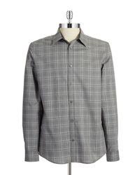 Calvin Klein | Gray Gingham Patterned Sportshirt for Men | Lyst