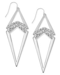 Guess | Metallic Earrings, Silver-Tone Pave Kite Doorknocker Drop Earrings | Lyst