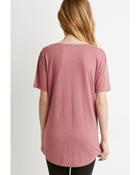 Forever 21 | Pink V-neck Pocket Tee | Lyst