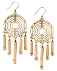 Lucky Brand | Metallic Gold-tone Open Disc Chandelier Earrings | Lyst