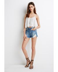 Forever 21 - Natural Embroidered Flounce Cami Top - Lyst