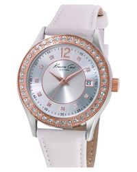 Kenneth Cole - White Crystal Bezel Leather Strap Watch - Lyst