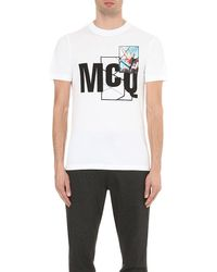 McQ - White Logo-print Cotton-jersey T-shirt for Men - Lyst