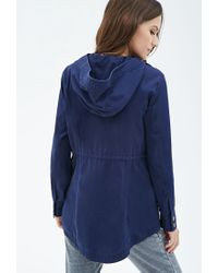 Forever 21 - Blue Hooded Utility Jacket - Lyst