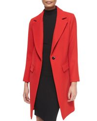 MILLY | Red Claudia Wool Snap-front Coat | Lyst