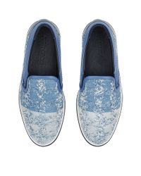 Jimmy Choo - Grove London Blue Small Check Frayed Denim Slip On Trainers for Men - Lyst
