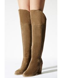 Forever 21 - Natural Sbicca Lace-up Suede Boots - Lyst