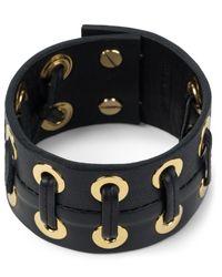 Ambush   Black/gold Grommet Leather Bracelet for Men   Lyst