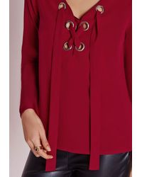 Missguided - Eyelet Tie Blouse Red - Lyst