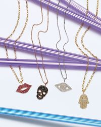 Sydney Evan | Red Pave Ruby Lip Charm Necklace | Lyst