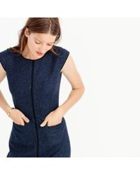 J.Crew - Blue Tall Cap-sleeve Dress In Piped Donegal Wool - Lyst
