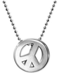 Alex Woo | Metallic Little Faith Peace Sign Pendant Necklace In Sterling Silver | Lyst