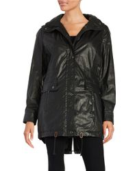 Calvin Klein | Black Faux Fur-trimmed Raincoat | Lyst