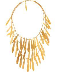 Herve Van Der Straeten | Metallic Tiered Hammered Goldplated Brass Necklace | Lyst