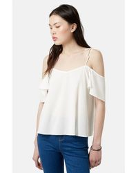 TOPSHOP - Natural Tie Strap Cold Shoulder Top - Lyst