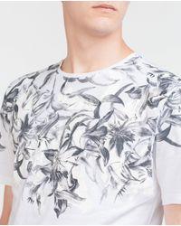 Zara | White Patterned T-shirt for Men | Lyst