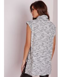 Missguided - Gray Space Dye Ribbed Roll Neck Vest - Lyst
