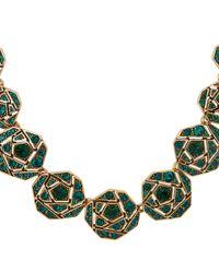 Oscar de la Renta | Green Crystal Octagon Necklace | Lyst