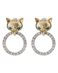 Betsey Johnson | Green Fox Trot Pave Ring Drop Earrings | Lyst