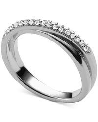 Michael Kors | Metallic Clear Pavé Crisscross Ring | Lyst