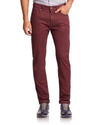 Saks Fifth Avenue | Red Five-pocket Cotton Pants for Men | Lyst