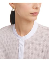 Tory Burch | Metallic Logo Pearl Drop Earring | Lyst