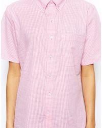American Apparel - Pink Short Sleeve Gingham Shirt - Lyst