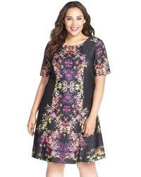 Tahari - Black Print Short Sleeve Scuba Knit Fit & Flare Dress - Lyst