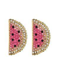 Betsey Johnson | Ocean Drive Pink Watermelon Button Earrings | Lyst