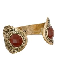 Lucky Brand | Metallic Gold And Red Gem Cuff Bracelet | Lyst