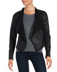 BB Dakota | Black Leatherette Flyaway Knit Jacket | Lyst