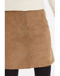 Oasis | Natural Suedette Button Through Skirt | Lyst