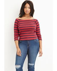 Forever 21 | Red Plus Size Striped Off-the-shoulder Top | Lyst