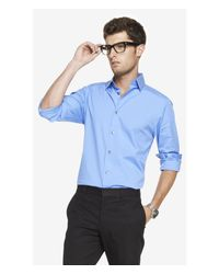 Express - Blue Fitted 1Mx Stretch Cotton Shirt for Men - Lyst