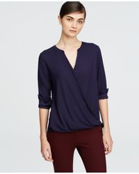 Ann Taylor | Blue Tall Crepe Wrap Blouse | Lyst