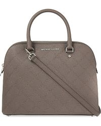 MICHAEL Michael Kors | Brown Cindy Large Saffiano Leather Dome Satchel | Lyst