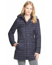 DKNY | Blue Quilted Coat With Detachable Hood | Lyst
