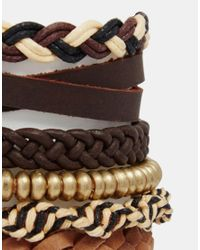 ASOS | Leather Bracelet Pack In Brown With Anchor And Gold Beads for Men | Lyst