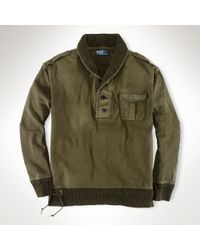 Polo Ralph Lauren | Green Fleece Military Shawl Pullover for Men | Lyst