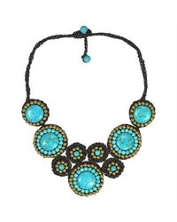 Aeravida - Brown Precious Mosaic Circles Turquoise Fashion Necklace - Lyst