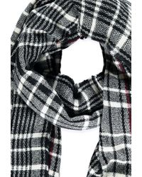 Forever 21 | Black Frayed-hem Plaid Scarf | Lyst