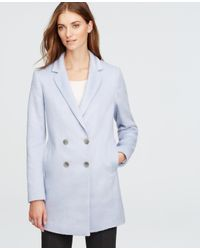 Ann Taylor | Blue Brushed Double Breasted Coat | Lyst