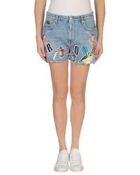 MSGM | Blue Denim Shorts | Lyst
